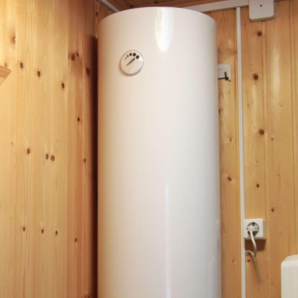tank water heater in a corner