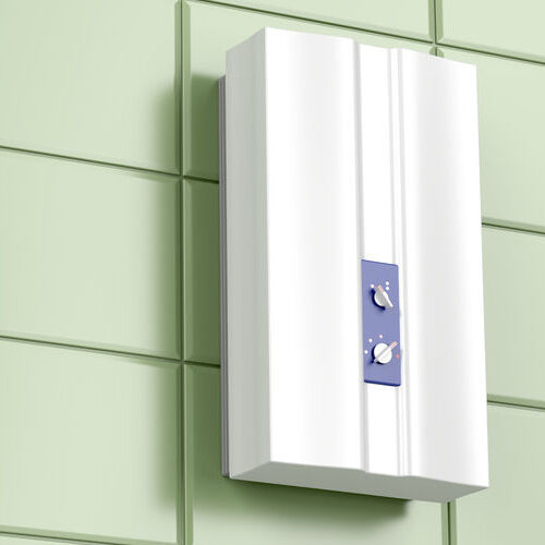 A Tankless Water Heater on a Green Tile Wall